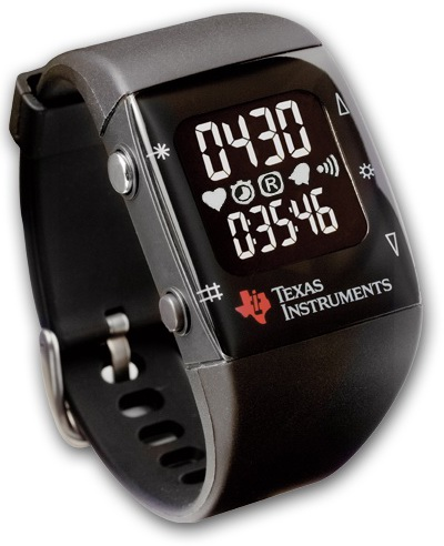 Texas Instruments eZ430-Chronos sports watch reference platform that can be paired wirelessly with heart rate monitors, pedometers or other devices.